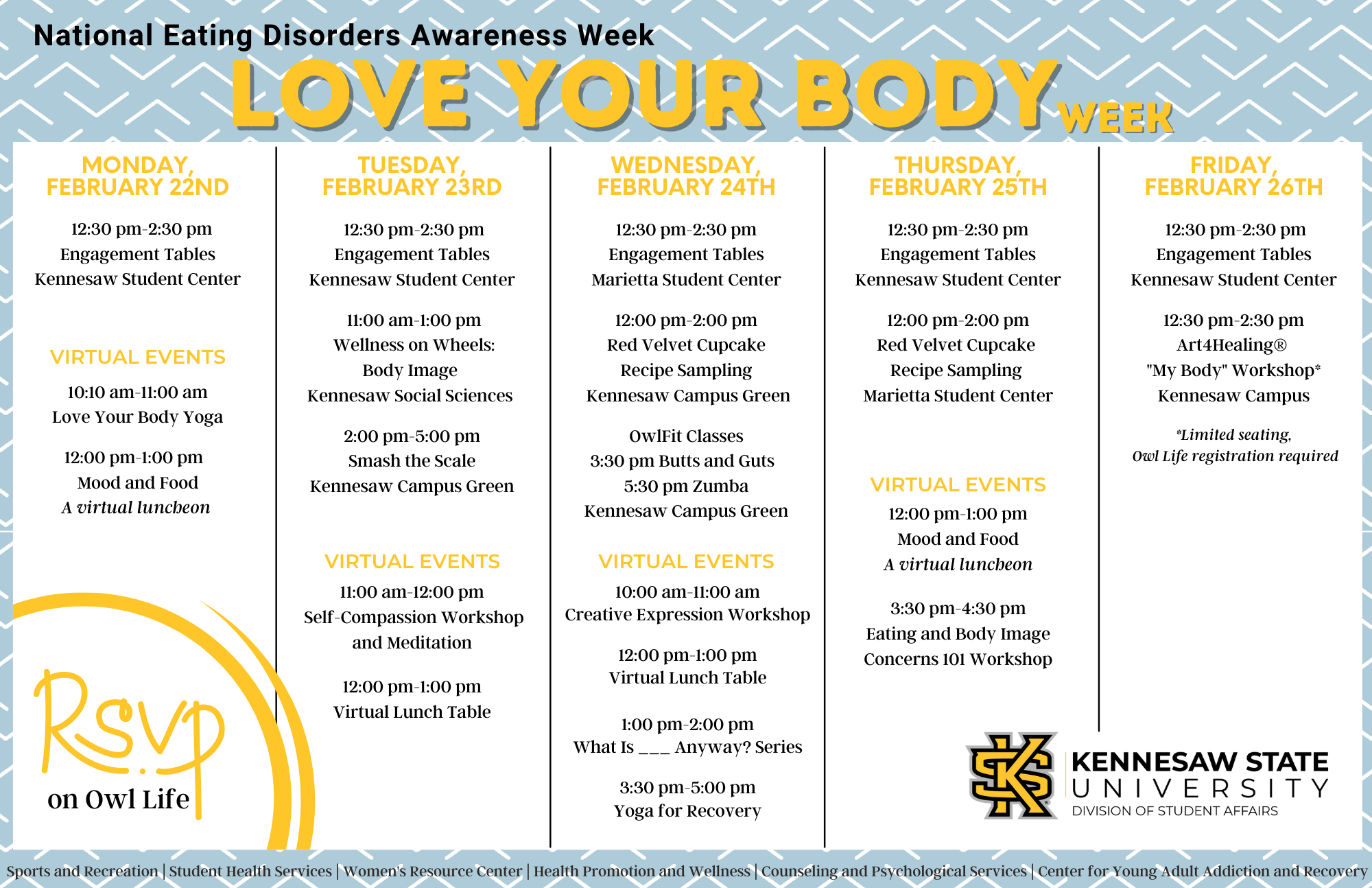 Love Your Body week image schedule of events