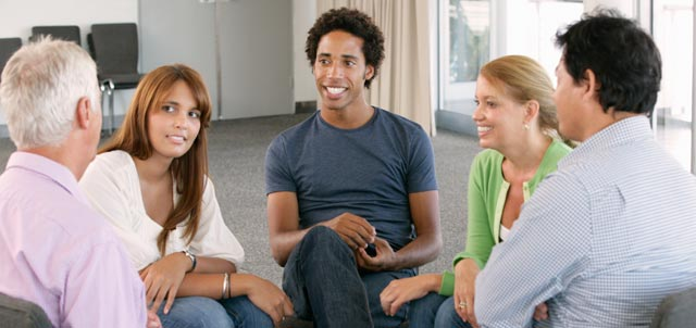 Students in group counseling
